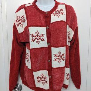 Vintage Christmas sweater cardigan size medium